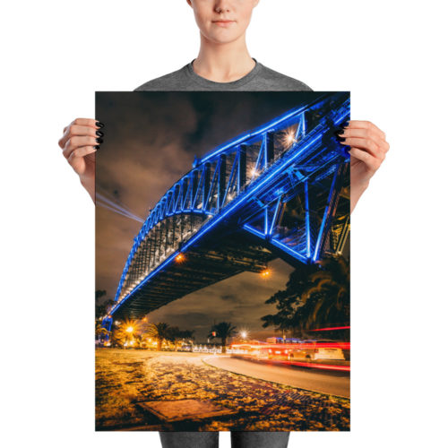 Sydney Harbour Bridge at night poster