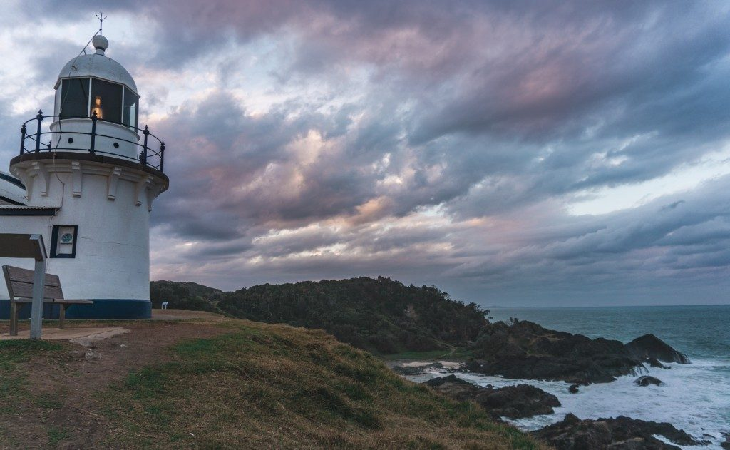 The sunset over the lighthouse in Port Macquarie