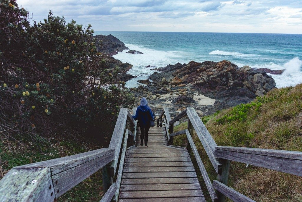 I take a walk down the steps to the beach during a rainy day while we spent a weekend in Port Macquarie