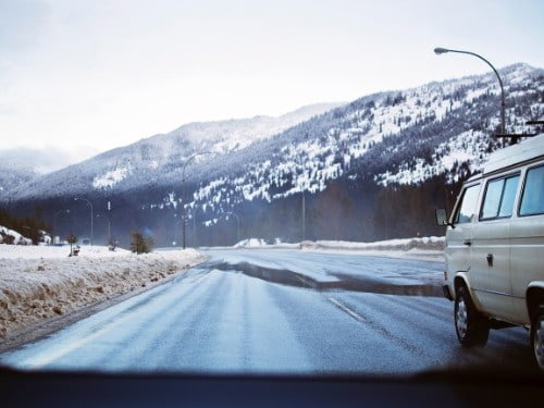 A full time van living person travelling on snowy roads