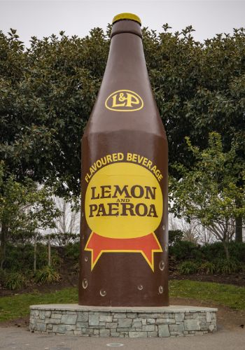A giant bottle of L+P, A New Zealand Icon