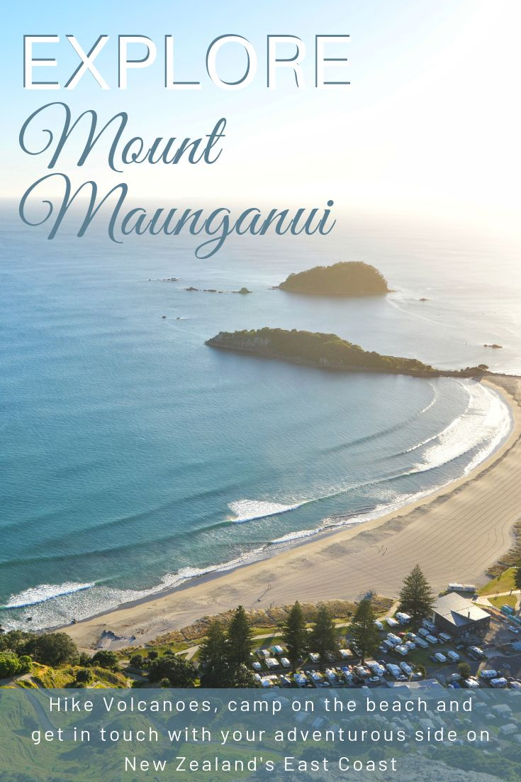 A pinterest pin showing the view from the top of Mount Maunganui with text overlay