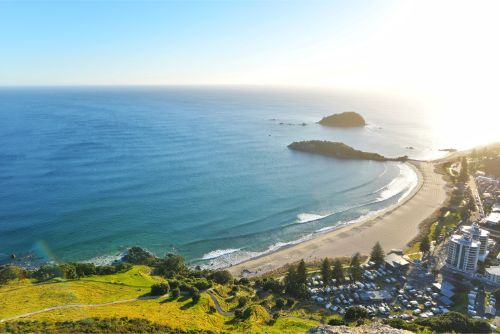The view from the top of Mount Maunganui over the city of Tauranga