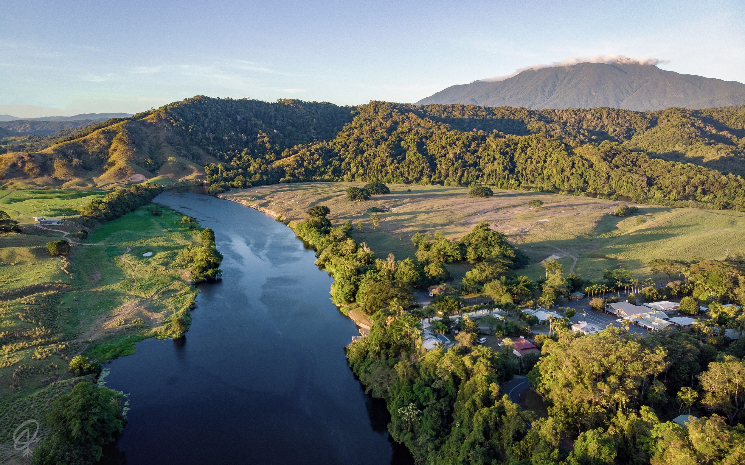 drone shot of the river daintree