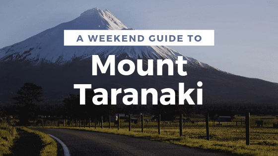 A button to a Mount Taranaki weekend guide
