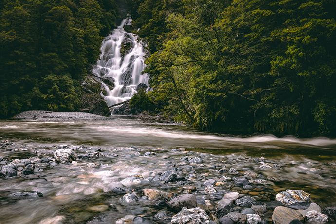 Fantail Falls along the Haast Pass